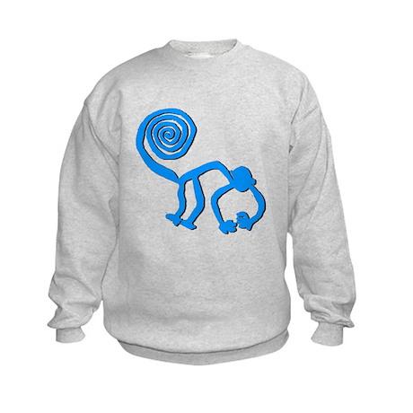 Nazca Monkey Sky Blue Kids Sweatshirt