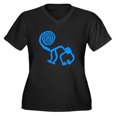 Nazca Monkey Sky Blue Women's Plus Size V-Neck Dar