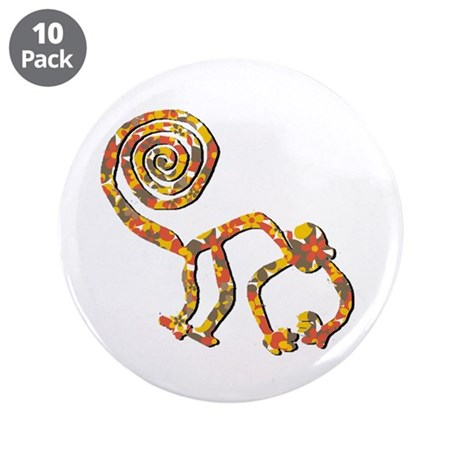 "Nazca Monkey Flower Camouflage 3.5"" Button (10 pac"