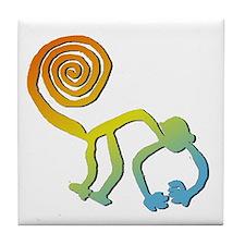 Nazca Monkey Groovy Light Colors Tile Coaster