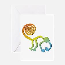 Nazca Monkey Groovy Light Colors Greeting Card