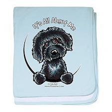 Black Labradoodle IAAM baby blanket