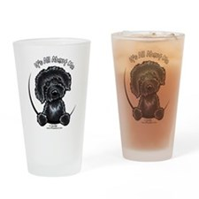 Black Labradoodle IAAM Drinking Glass