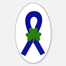 Blue Shamrock Ribbon Sticker (Oval)