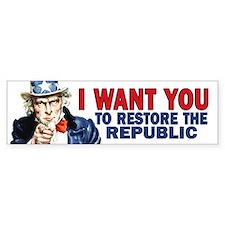 Uncle Sam - Restore the Repub Bumper Sticker