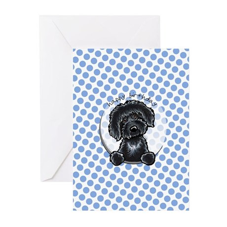 Black Labradoodle Birthday Greeting Cards (Pk of 1