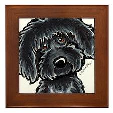 Black Labradoodle Funny Framed Tile