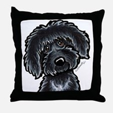 Black Labradoodle Funny Throw Pillow
