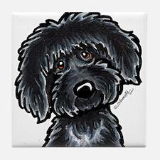 Black Labradoodle Funny Tile Coaster