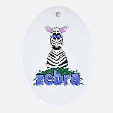 Cartoon Zebra Ornament (Oval)