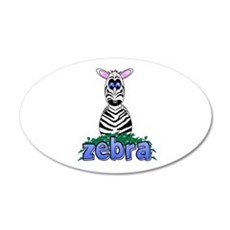 Cartoon Zebra 22x14 Oval Wall Peel