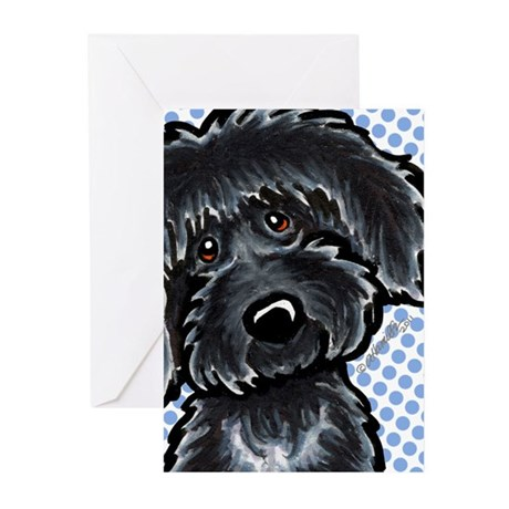 Black Labradoodle Funny Greeting Cards (Pk of 10)