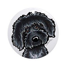 Black Labradoodle Funny Ornament (Round)