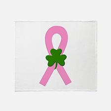 Pink Shamrock Ribbon Throw Blanket