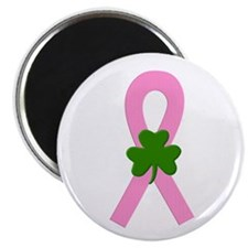 "Pink Shamrock Ribbon 2.25"" Magnet (100 pack)"