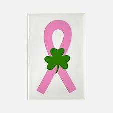 Pink Shamrock Ribbon Rectangle Magnet (10 pack)
