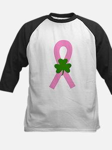 Pink Shamrock Ribbon Kids Baseball Jersey