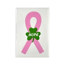 Pink Shamrock Ribbon Rectangle Magnet