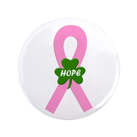 "Pink Shamrock Ribbon 3.5"" Button"