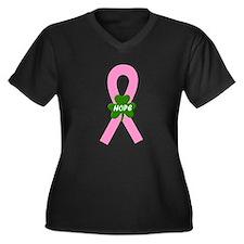 Pink Shamrock Ribbon Women's Plus Size V-Neck Dark