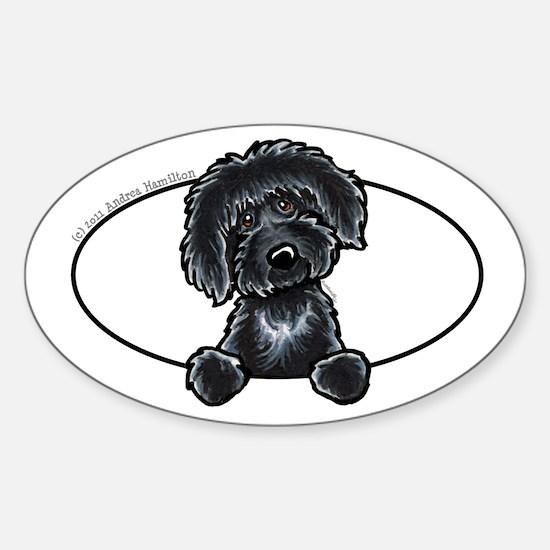 Black Labradoodle Funny Sticker (Oval 10 pk)
