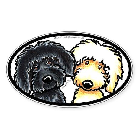 Black Golden Doodles Sticker (Oval)