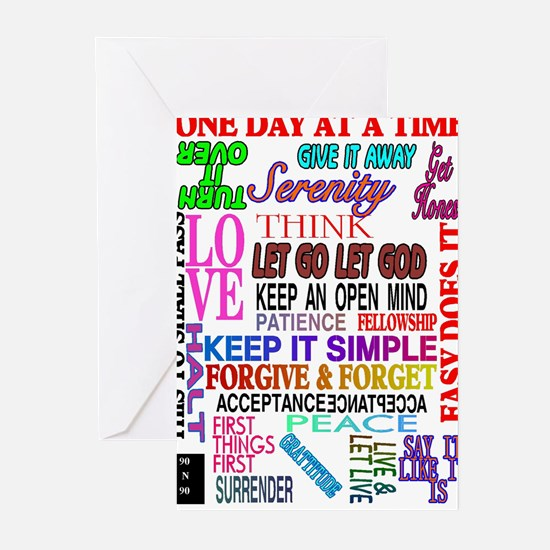 12 STEP SLOGANS IN COLOR Greeting Cards (Pk of 20)