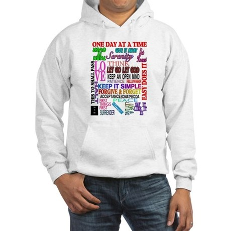 12 STEP SLOGANS IN COLOR Hooded Sweatshirt