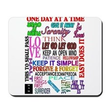 12 STEP SLOGANS IN COLOR Mousepad