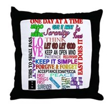 12 STEP SLOGANS IN COLOR Throw Pillow