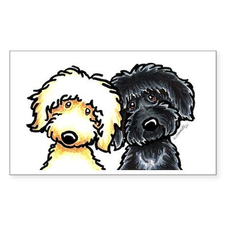 Black Golden Doodles Sticker (Rectangle)