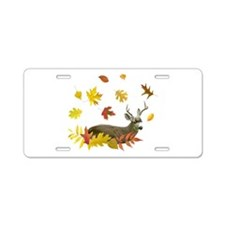 Stag in Leaves Aluminum License Plate