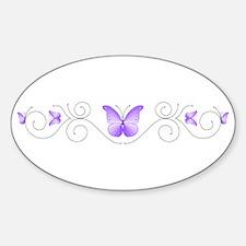 Purple Butterflies Sticker (Oval)