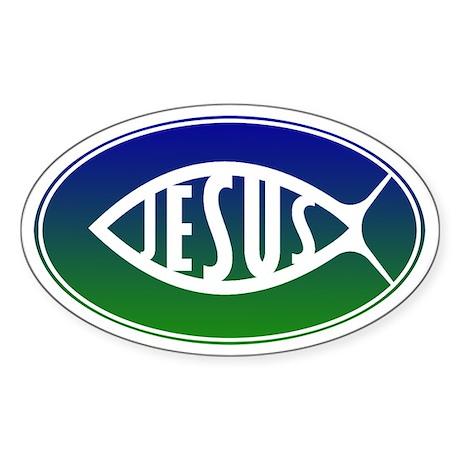 Jesus Fish Sticker (Oval)