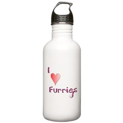 I love Furries! - Red Water Bottle