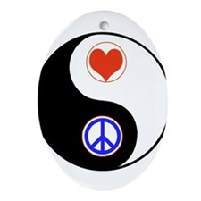 Ying Yang Peace Love Ornament (Oval)