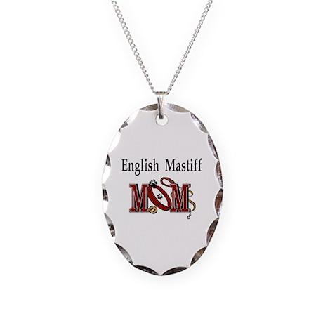 English Mastiff Mom Necklace Oval Charm