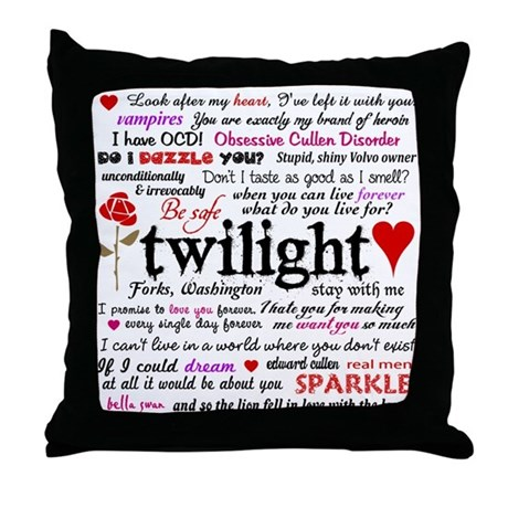Throw Pillow With Quotes : Twilight Quotes Throw Pillow by designdivagifts