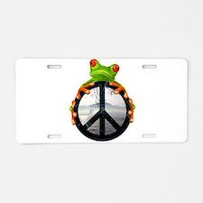 Cute Peace frogs Aluminum License Plate