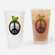 Cute Peace frog Drinking Glass