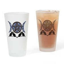 Mystic Blue Pentagram Drinking Glass