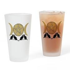 Diamond Pentagram Cats Drinking Glass