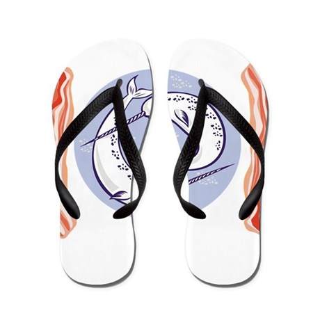 narwhal whale bacon Flip Flops