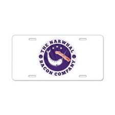 narwhal whale bacon Aluminum License Plate