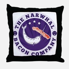narwhal whale bacon Throw Pillow