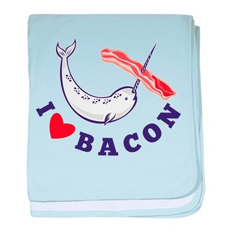 narwhal whale bacon baby blanket