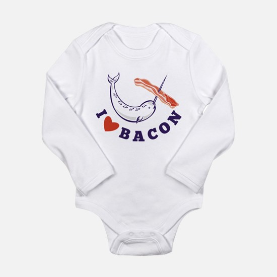 narwhal whale bacon Long Sleeve Infant Bodysuit