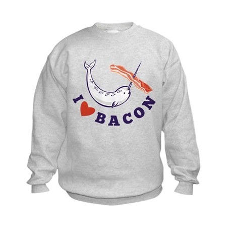 narwhal whale bacon Kids Sweatshirt