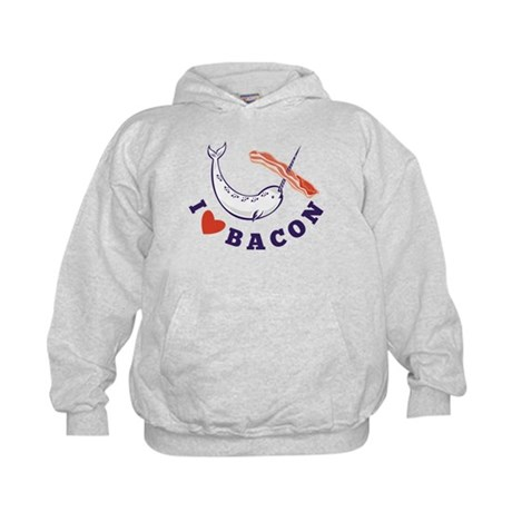 narwhal whale bacon Kids Hoodie