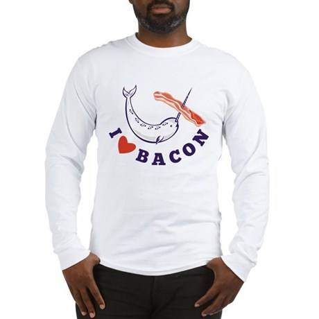 narwhal whale bacon Long Sleeve T-Shirt